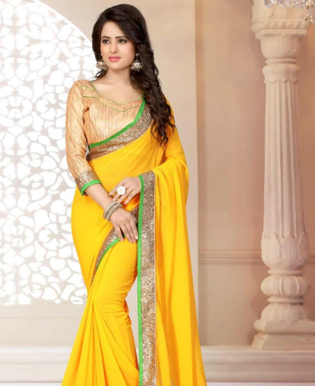 Lace Georgette Saree (Sari) in Yellow