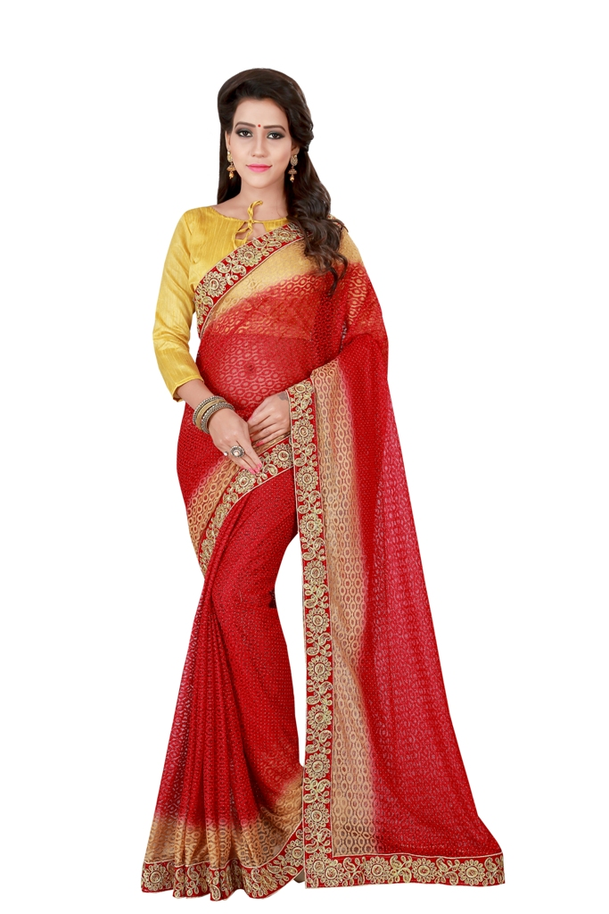 Stone Work Net Saree (sari) in Red