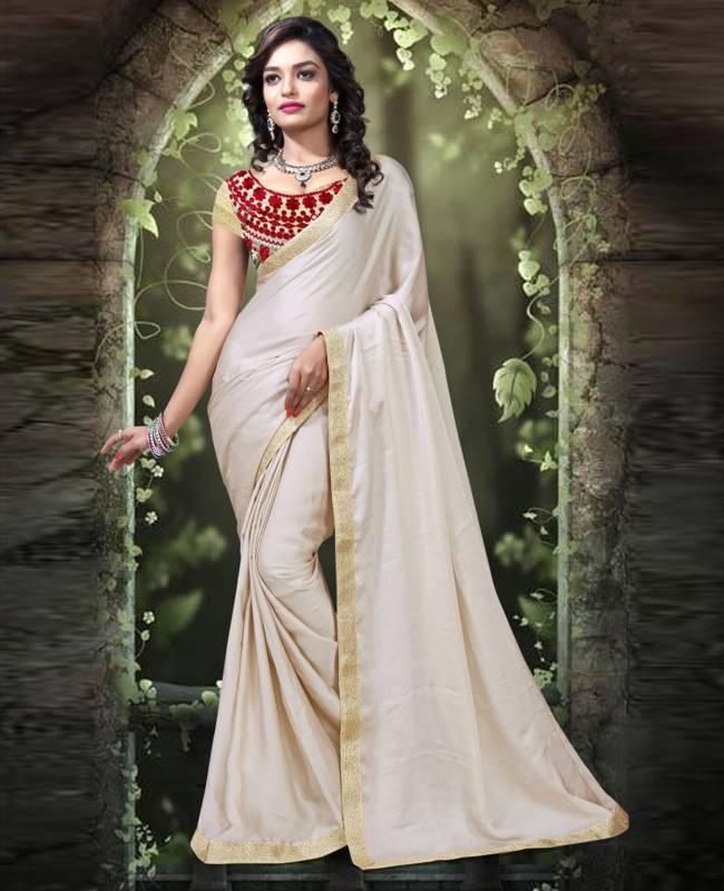 Border Worked Satin Faux Georgette Saree (Sari) in Off White