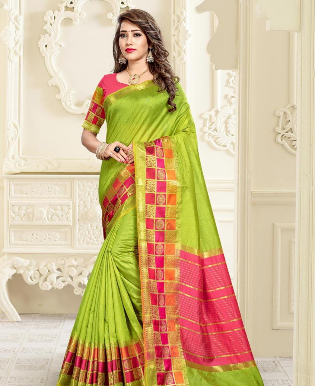 Cotton Saree in Parrot Green