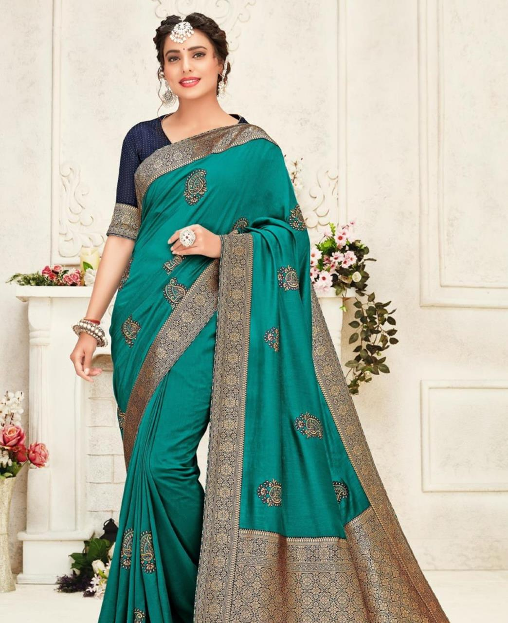 Stone Work Silk Saree in Turqouis Green