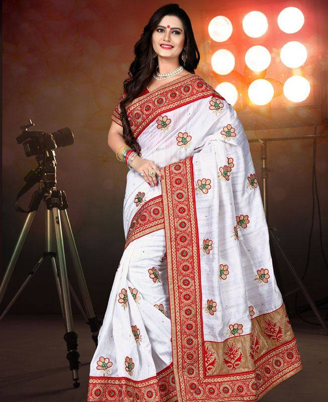 Butta Work Brocade Saree (Sari) in White