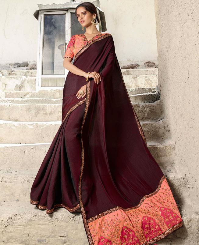 Embroidered Satin Saree (Sari) in Purple