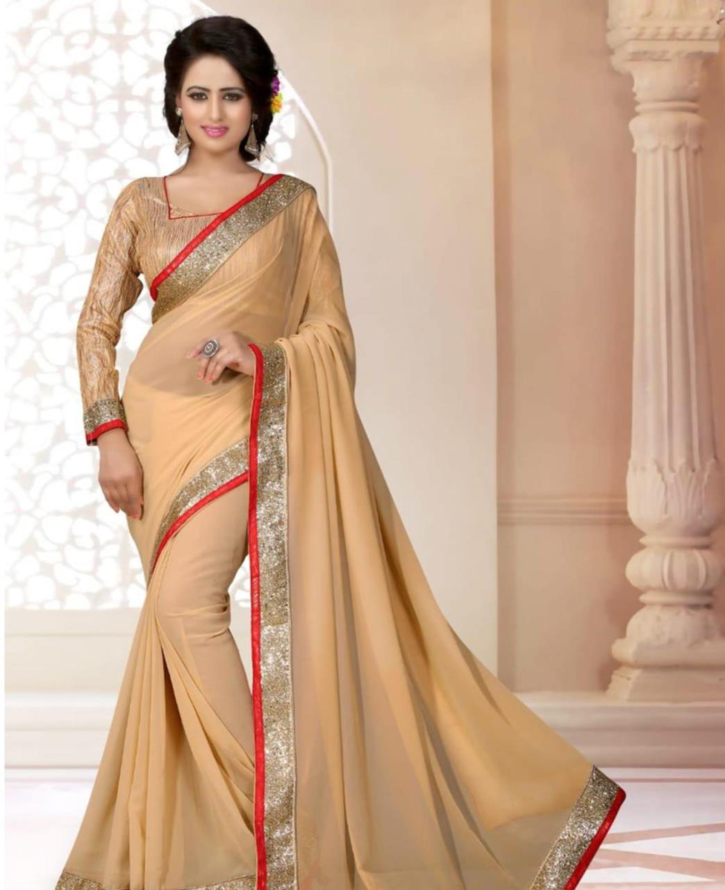Lace Georgette Saree (Sari) in Beige
