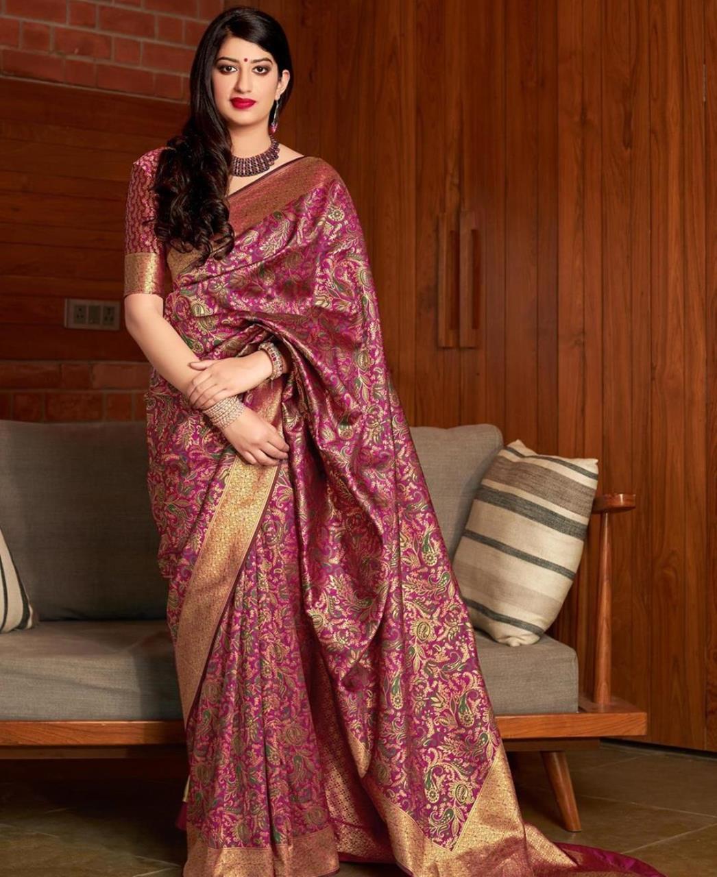 Woven Banarasi Silk Saree in Pink