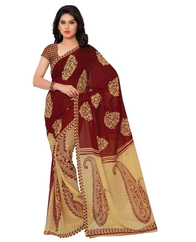 Printed Faux Georgette Saree (Sari) in Maroon