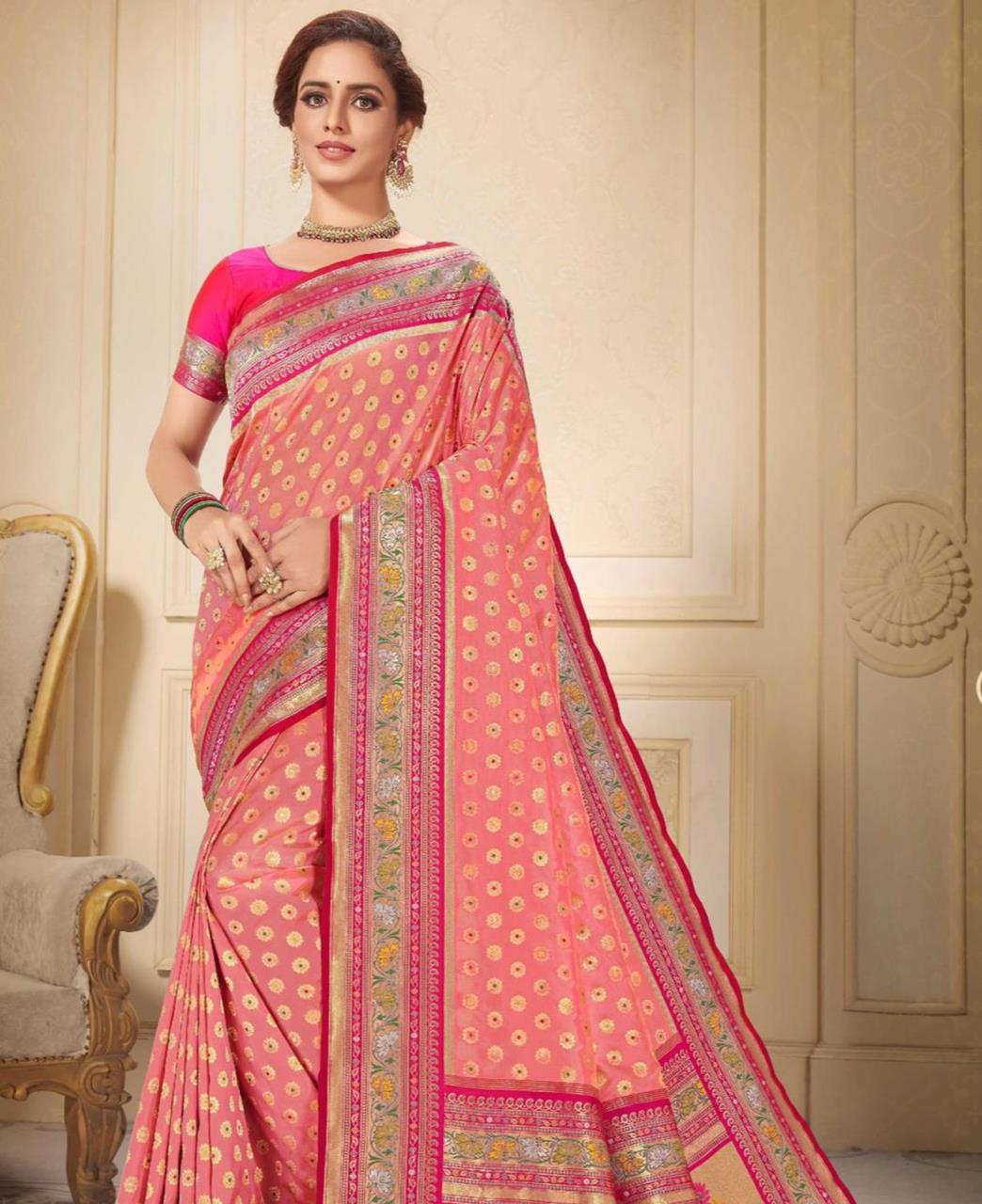 Printed Silk Saree in Gazari