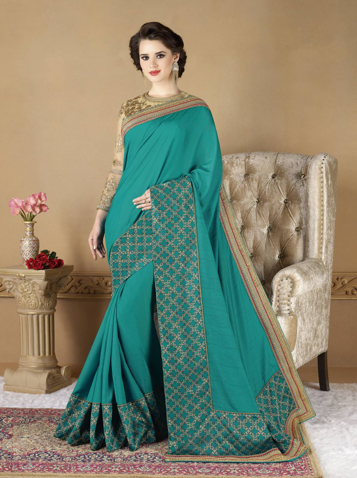 Embroidered Art Silk Saree (Sari) in Turquoise