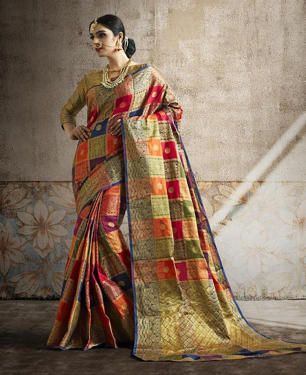 Woven Banarasi Silk Saree in Orange