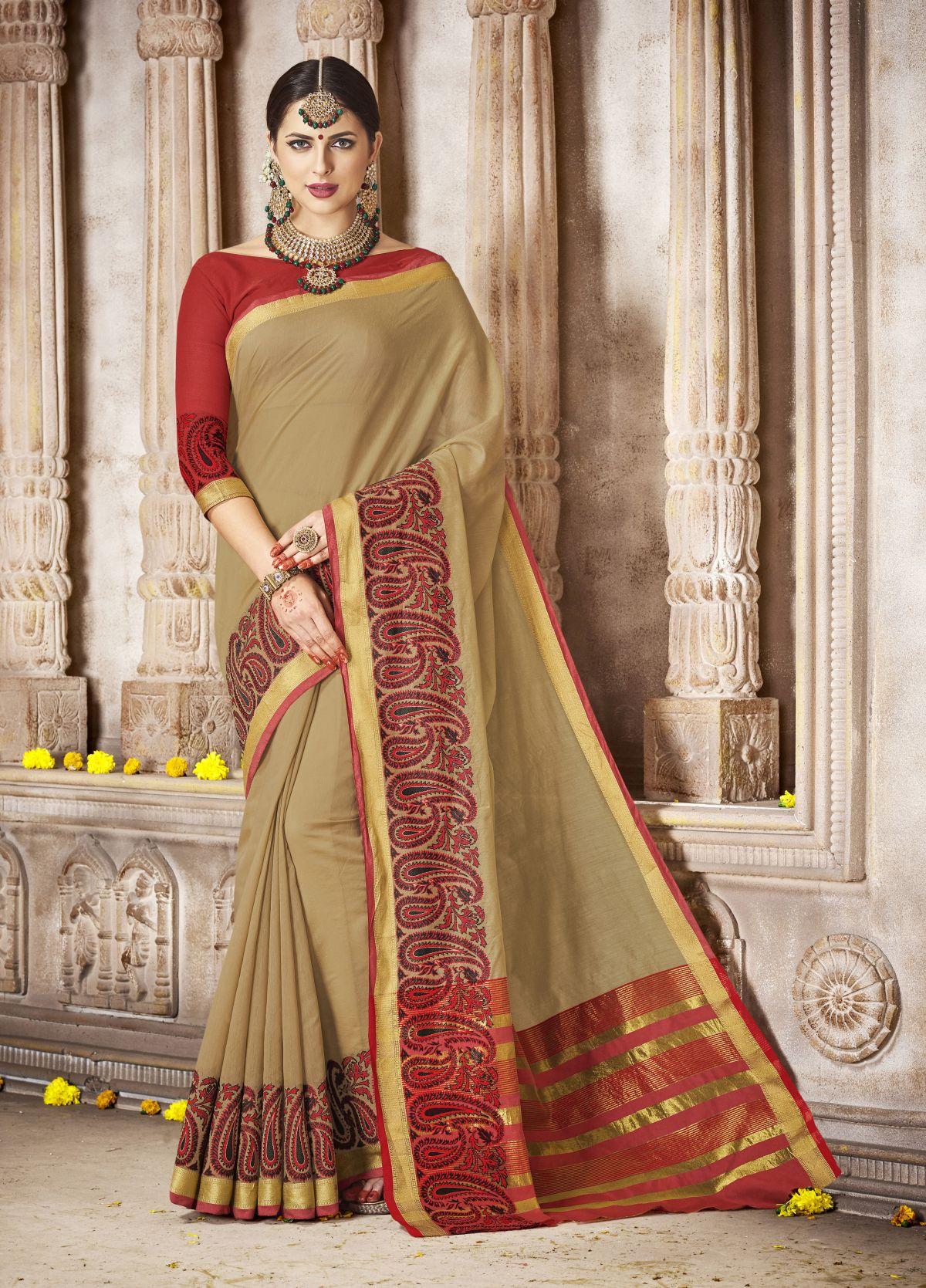 Woven Silk Saree in Brown