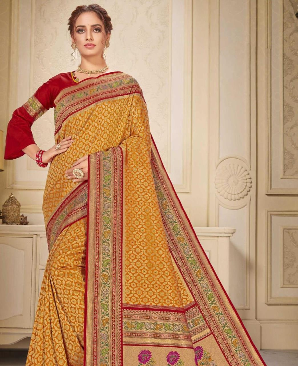 Printed Silk Saree in Musterd