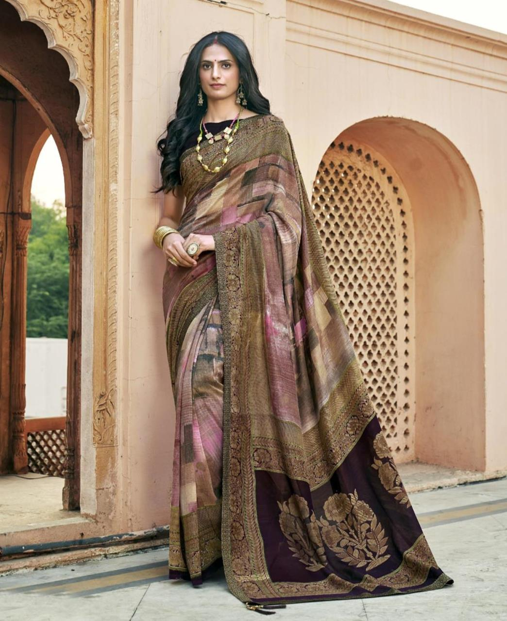 HandWorked Silk Saree in Pink