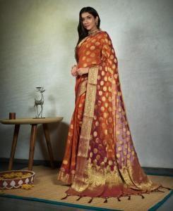 Chiffon Saree in Orange