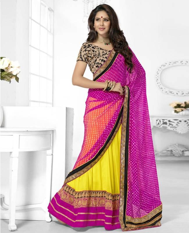 Border Worked Faux Georgette Chiffon Saree (Sari) in Yellow