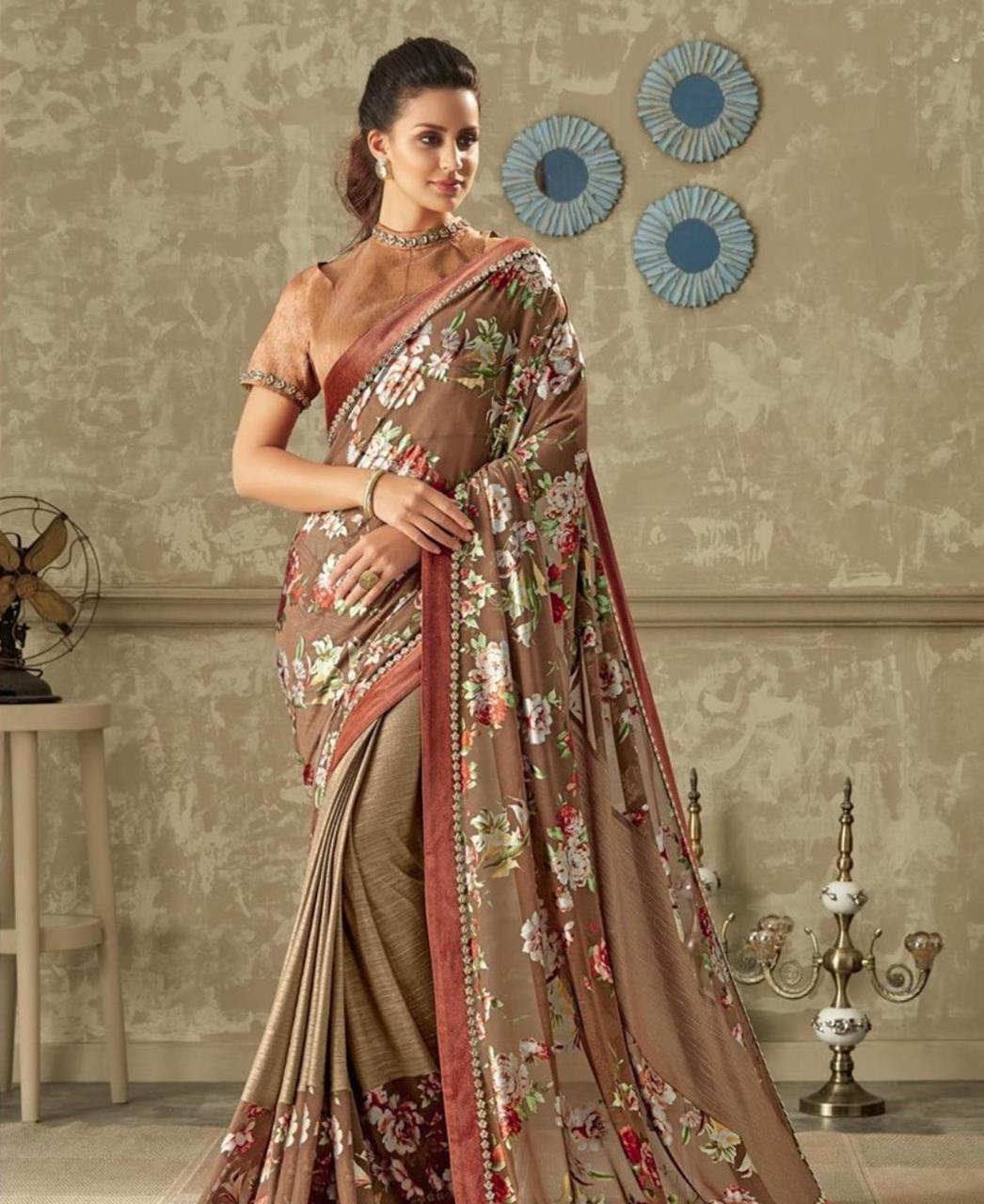 Floral Print Lycra Saree (Sari) in Brown