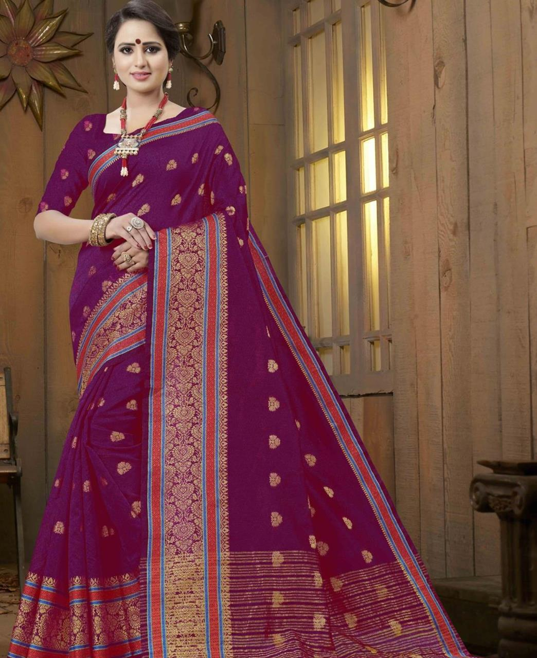 Woven Cotton Saree in Purple