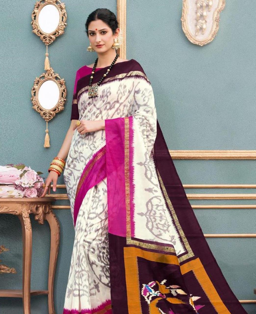 Printed Silk Saree in Cream