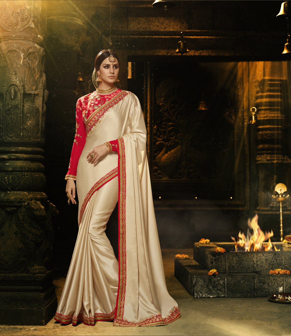 Embroidered Silk Saree in Cream