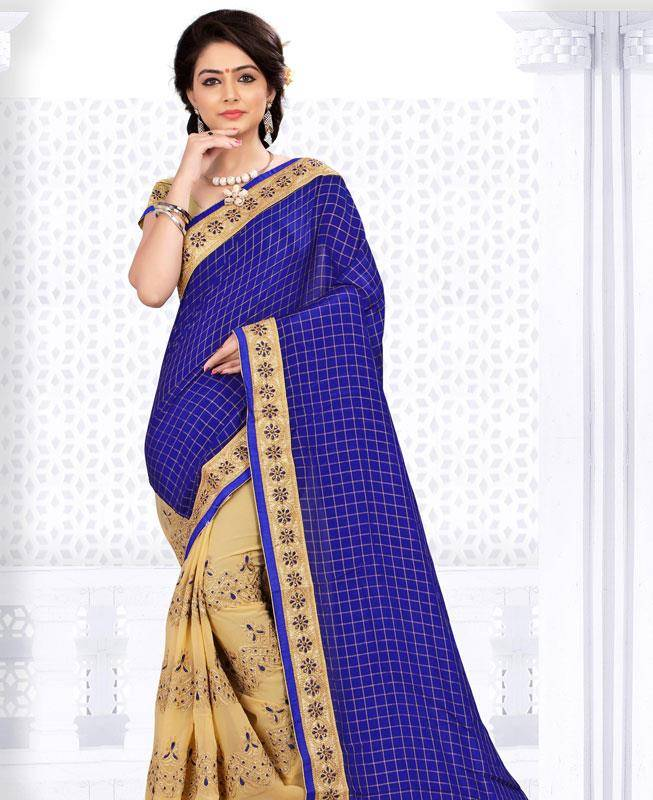 Lace Georgette Saree (Sari) in Blue
