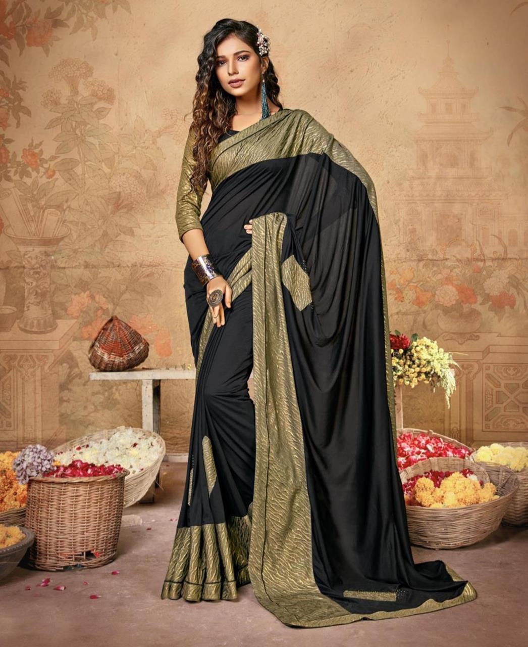 Printed Lycra Saree in Black