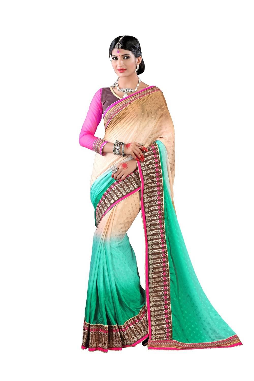 Embroidered Faux Chiffon Saree (Sari) in Green