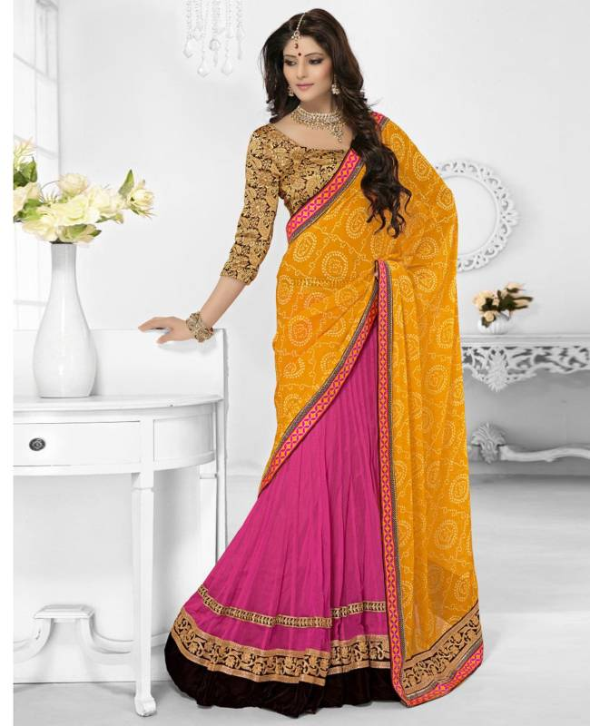 Border Worked Net Faux Georgette Saree (Sari) in Pink