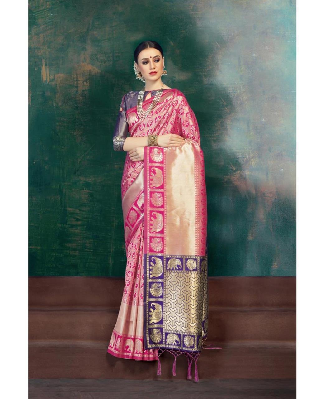Jacquard Banarasi Silk Saree (Sari) in Pink