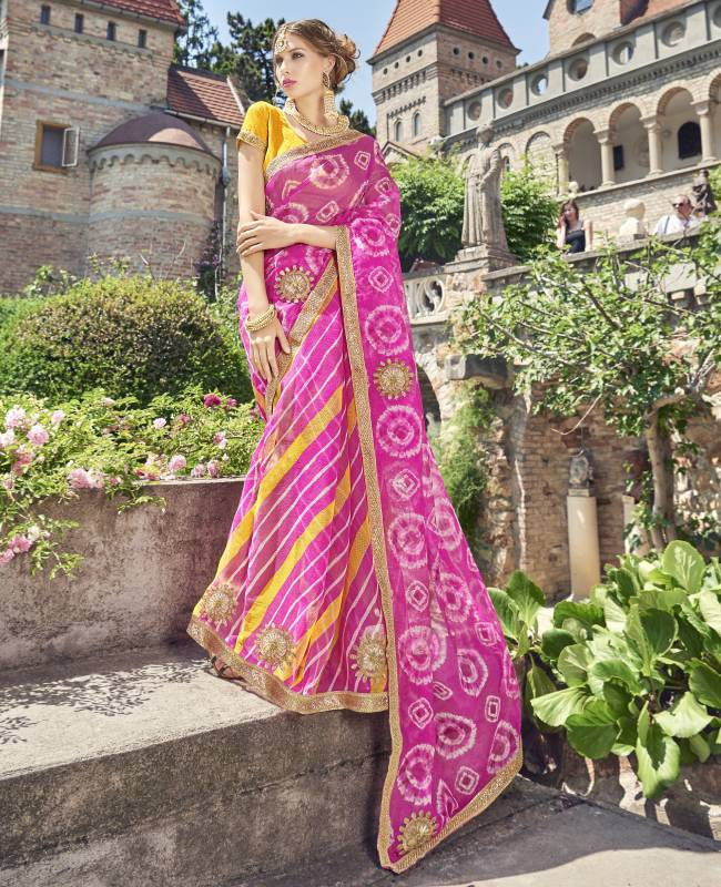 Lehriya Supernet Saree (Sari) in Pink