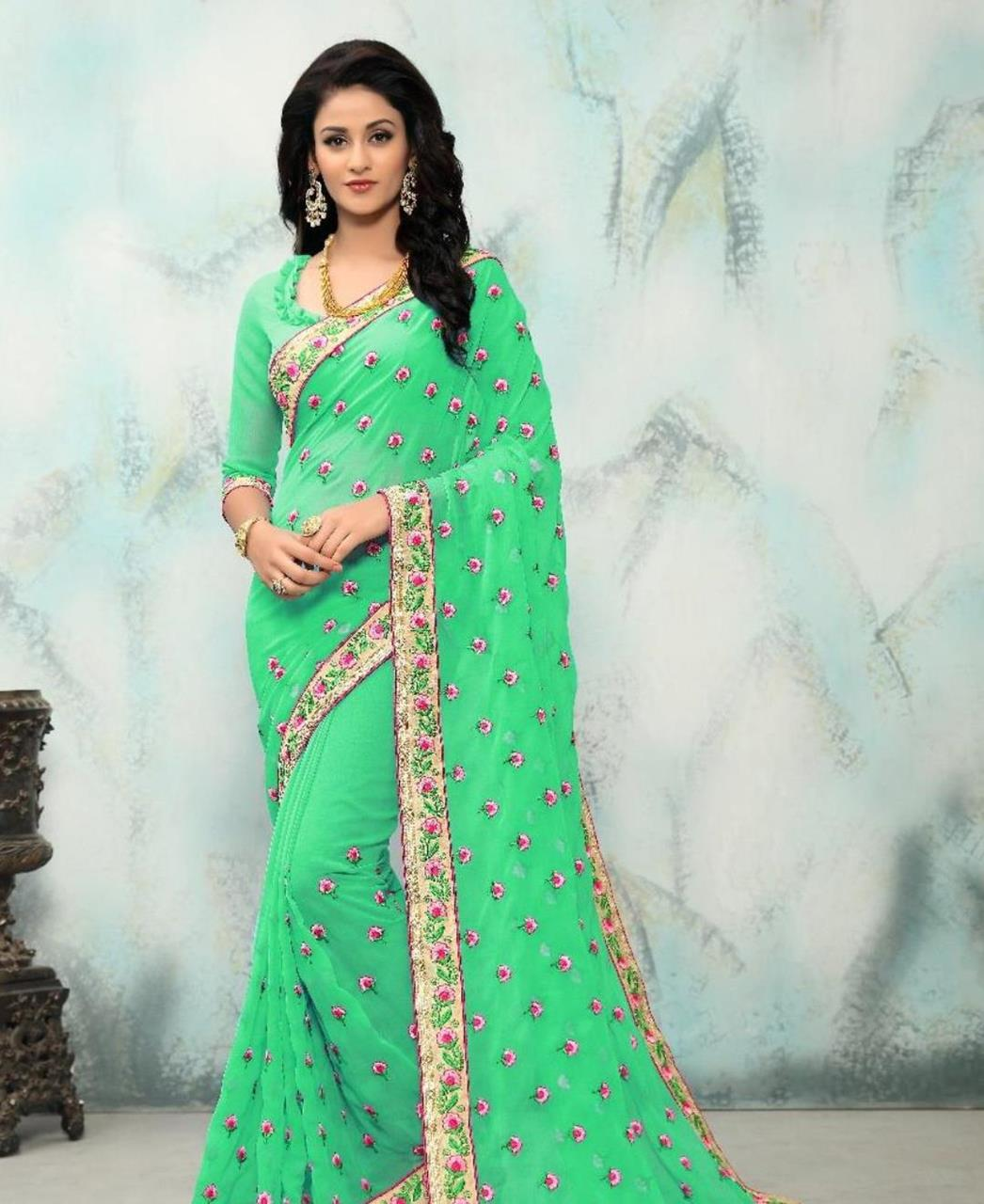 Embroidered Georgette Saree (Sari) in MINTCREAM