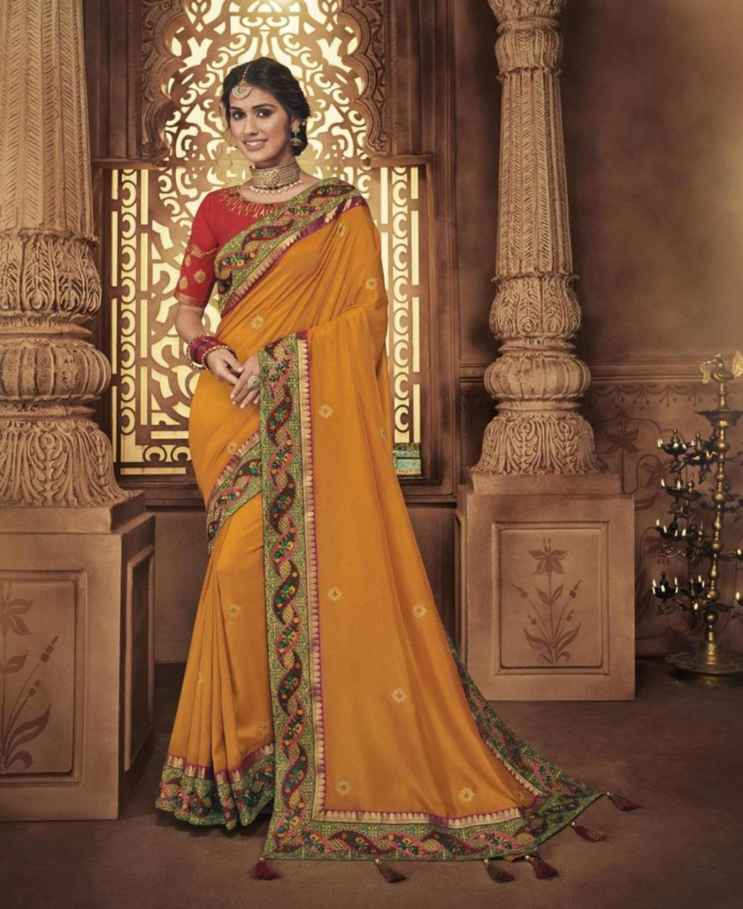 Embroidered Silk Saree in Yellow