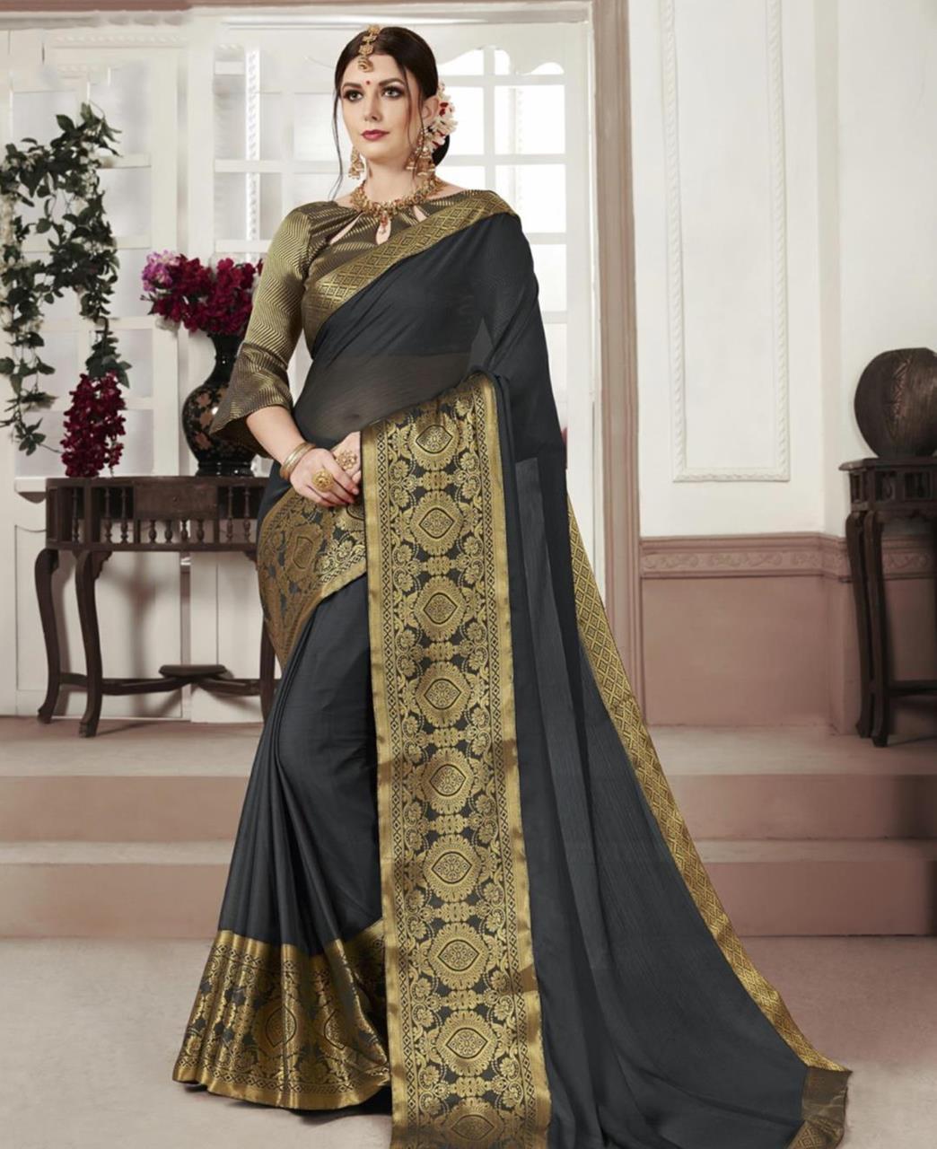 Woven Chiffon Saree (Sari) in Gray
