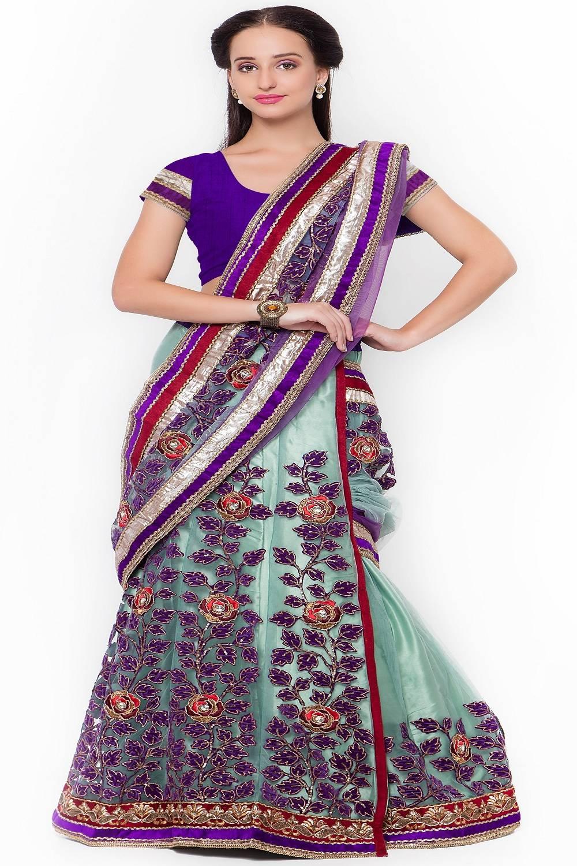 Embellishments Brocade Saree (Sari) in Green