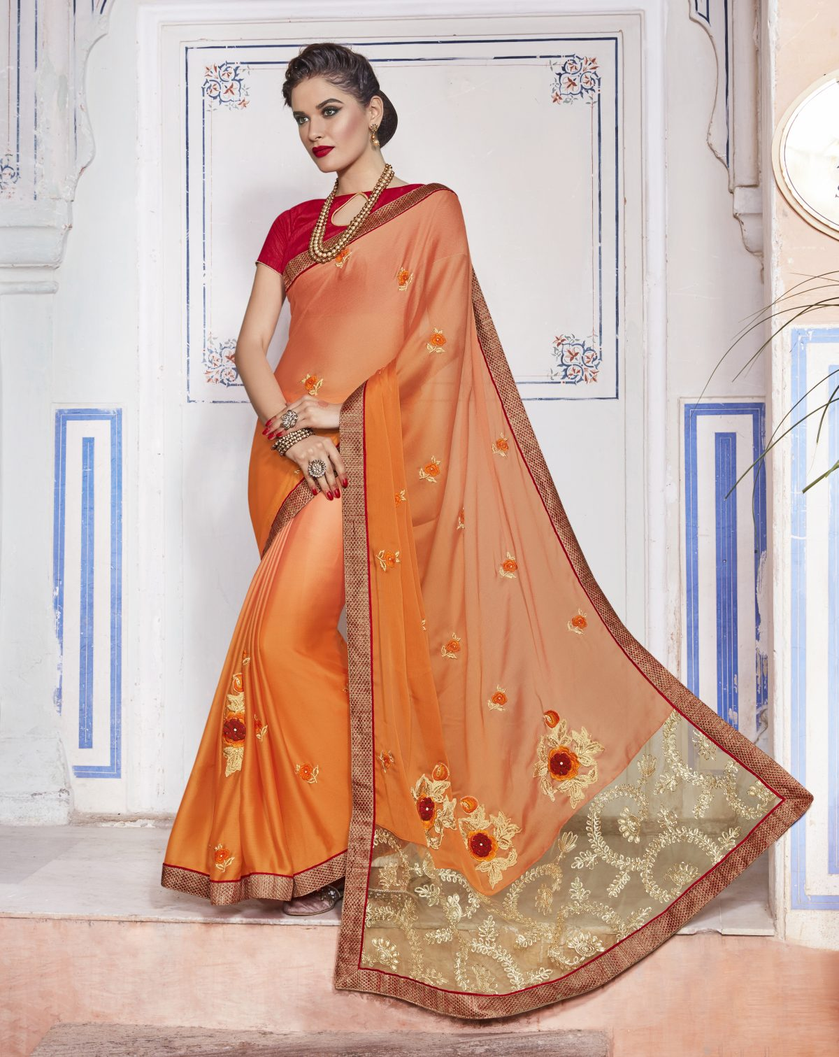 Embroidered Chiffon Saree (Sari) in PeachPuff