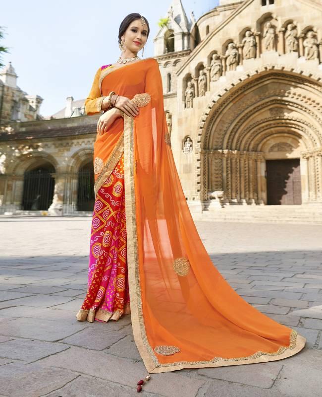 Bandhej Printed Faux Georgette Saree (Sari) in Orange