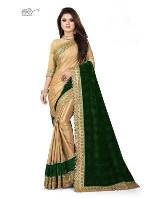 Embroidered Satin,Velvet Saree in Gold