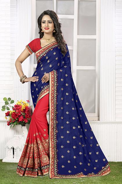 Embroidered Chiffon Saree (sari) in Navyblue