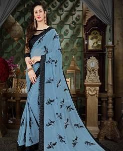 Embroidered Georgette Saree (Sari) in Gray