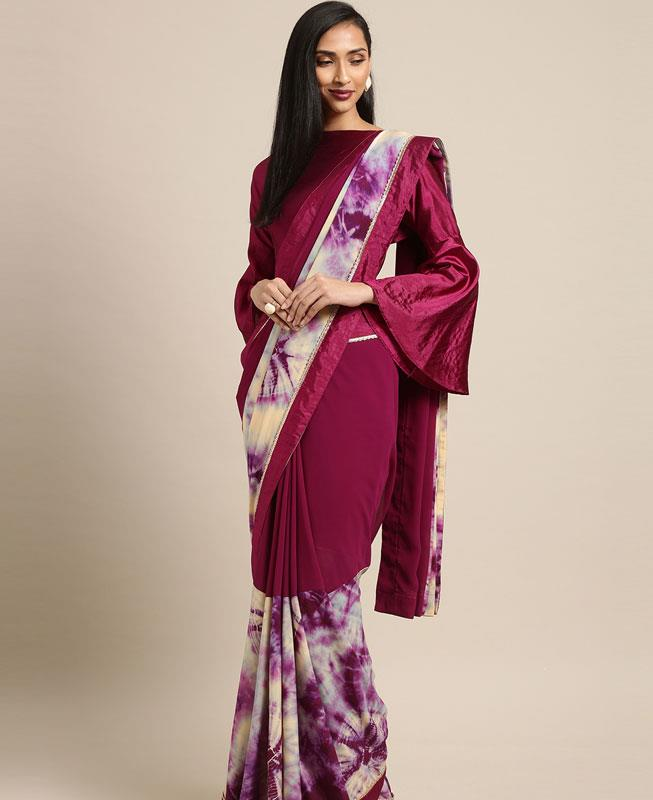 Georgette Saree in Purple