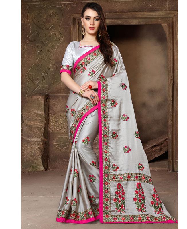 Embroidered Silk Saree (Sari) in Gray