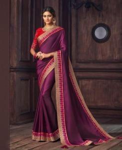 Lace Silk Saree in Violet