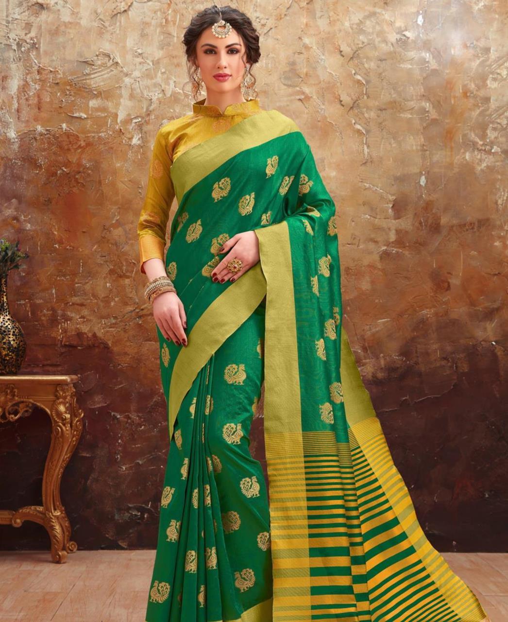 Printed Art Silk Saree (Sari) in Green