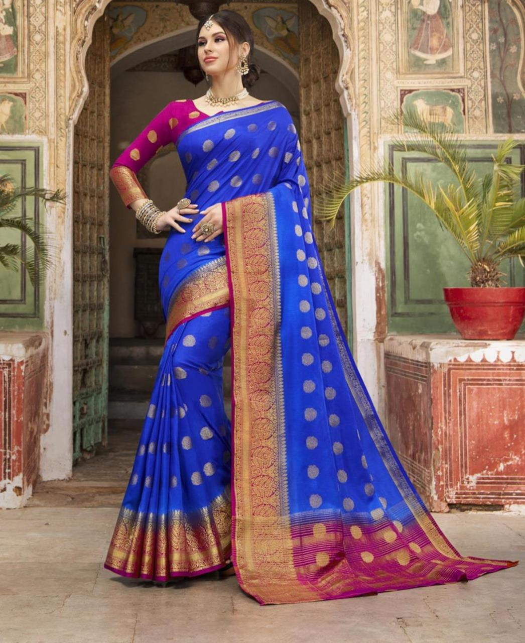 Silk Saree in Royal Blue