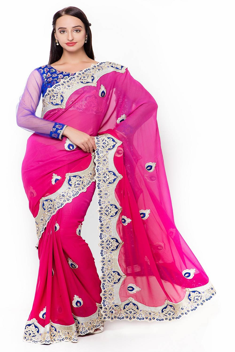 Embroidered Faux Georgette Saree (Sari) in Pink