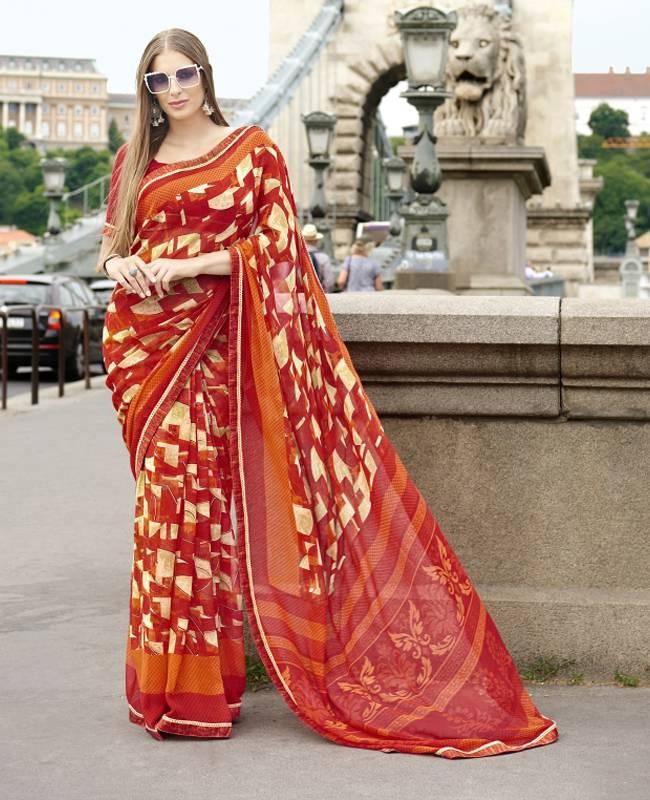 Printed Faux Georgette Saree (Sari) in Red