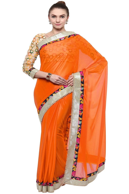 Border Work Lycra Saree (Sari) in Orange