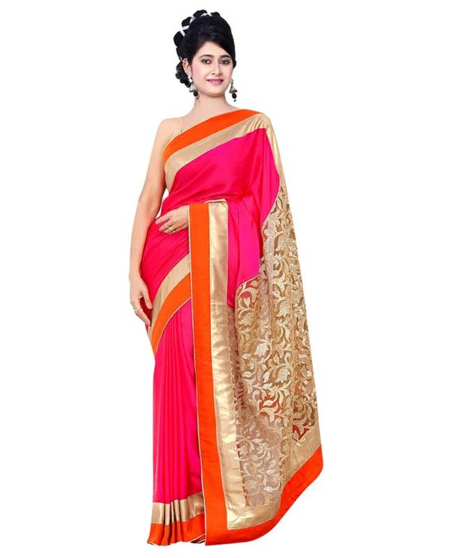 Border worked Net Saree (Sari) in Magenta