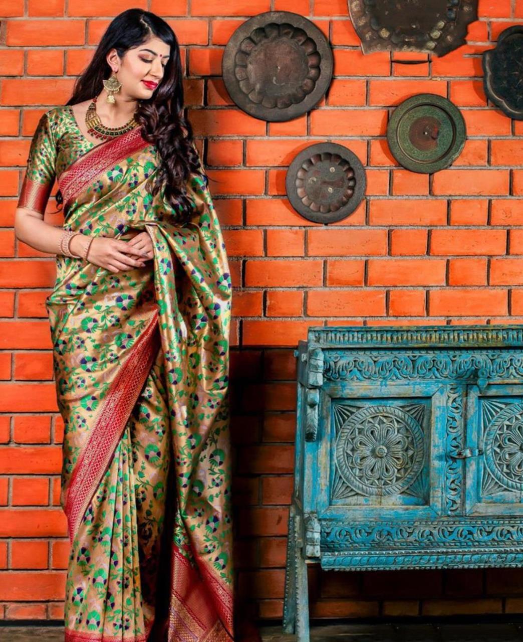 Printed Banarasi Silk Saree (Sari) Gold