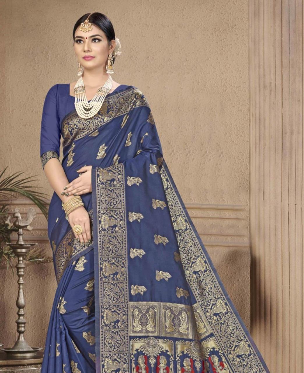 Woven Banarasi Silk Saree in Navyblue