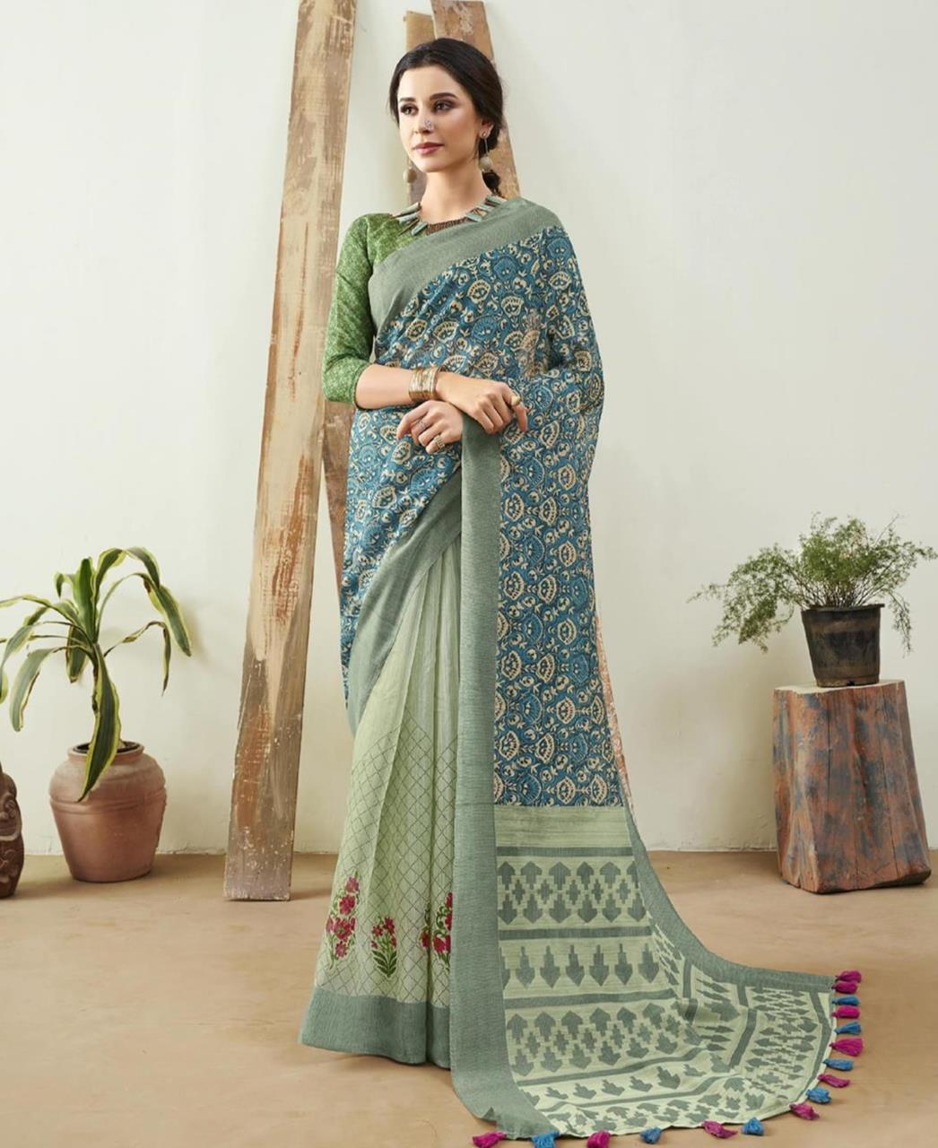 Printed Cotton Saree in Green