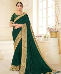 Lace Georgette Saree in Green